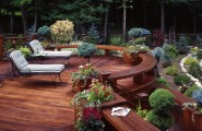 Interesting Photos of Wood Decks : Traditional Wooden Deck And Built In Seating Ipe Deck Features Simple Lines Built In Benches And An Unobstructed View Of Terraced Gardens And Pool