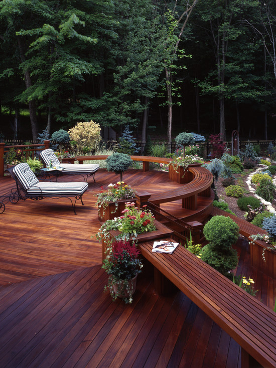Interesting Photos of Wood Decks: Traditional Wooden Deck And Built In Seating Ipe Deck Features Simple Lines Built In Benches And An Unobstructed View Of Terraced Gardens And Pool ~ stevenwardhair.com Exterior Design Inspiration