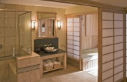 Relaxing Japanese Bathroom Model For You Apartment : Tranquil Japanese Bathroom With Astonishing Floor Design Idea And Serene Shoji Screens Steel Sink