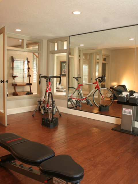 Transform A Space Room Into Inspiring Stylish Gym: Transform A Space Room Into Inspiring Stylish A Mini Gym Decoration With Portable Fitness Equipment And Full Lenght Mirrorb With Bycle And Laminated Floor ~ stevenwardhair.com Basement Inspiration