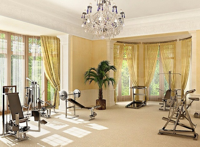 Transform A Space Room Into Inspiring Stylish Gym: Transform A Space Room Into Inspiring Stylish A Mini Gym With Bringing Health And Fitness Indoors A Workout Room Complete With Nice Curtain Pendant With Green Plant Decor