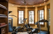 Transform A Space Room Into Inspiring Stylish Gym : Transform A Space Room Into Inspiring Stylish A Mini Gym With Elliptical Treadmill Or Multi Functional Home Gym System With Wooden Ceiling And Cabinet With Bay Window