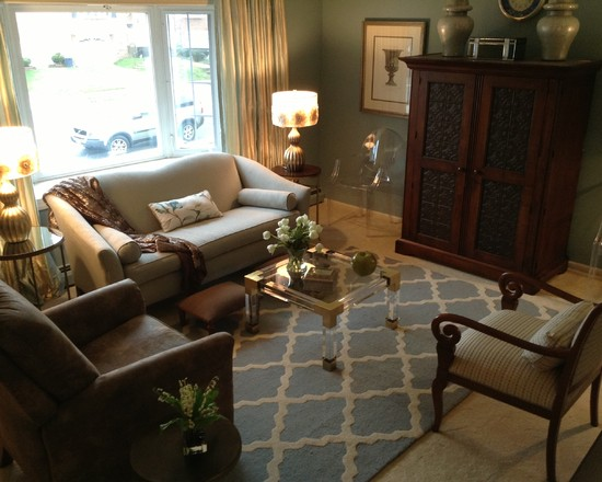 Outstanding Phillip Stark Ghost Chairs: Transitional Family Room With Wonderful Phillip Stark Ghost Chairs