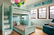 Apply Turquoise Bed Sheets For Amazing Bedroom : Transitional Kids Room With Turquoise Foot Board Bunk Bed And Headboard Plus Drawers