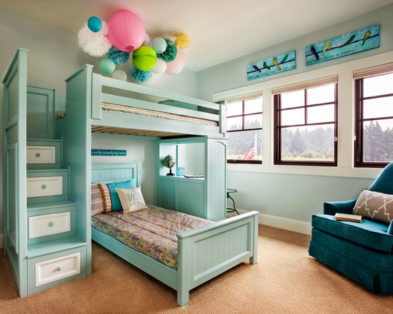 Apply Turquoise Bed Sheets For Amazing Bedroom: Transitional Kids Room With Turquoise Foot Board Bunk Bed And Headboard Plus Drawers ~ stevenwardhair.com Bed Ideas Inspiration