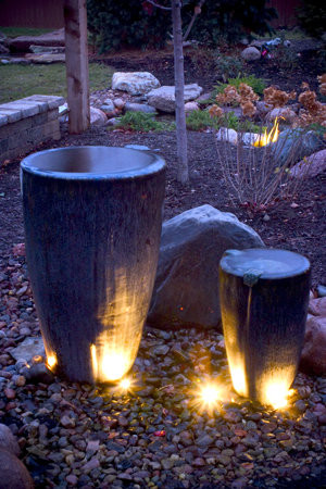 Beautiful Water Fountain Designs With Lights: Transitional Landscape Cool Outdoor Pots And Lighting Overflowing Water Feature Idea Lighting Under Fountain ~ stevenwardhair.com Outdoor Design Inspiration