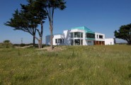 Find Your Dream Getaway in Longacres House : Trees Meadow Yard Two Floors House White Outdoor Wall Largest Glasses Wall