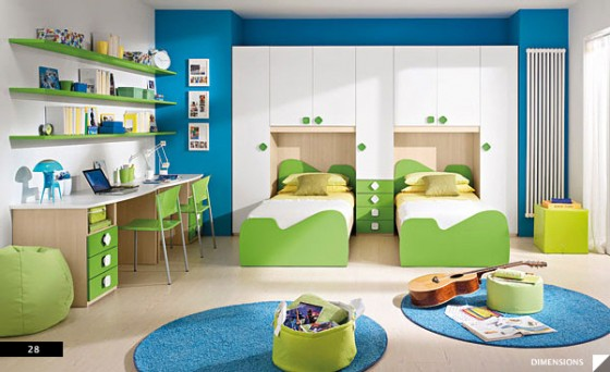 Amazing Trendy Bold Color Comfy Kids Room : Trendy Fresh Bright Minimalist Cool Green Blue White Color Theme Kids Bedroom With Twin Beds Nd Two Study Desks And Two Blue Fuzzy Carpets As Accent