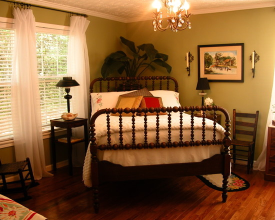 Awesome Jenny Lind Twin Beds: Tropical Bedroom Catty Corner Bed Placement In Tiffs Room Jenny Lind Bed Wooden Laminate Floor Chandelier And White Curtain
