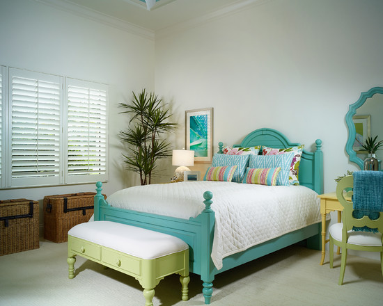 Apply Turquoise Bed Sheets For Amazing Bedroom: Tropical Bedroom With Amazing Turquoise Painted Furniture Stanley Bed