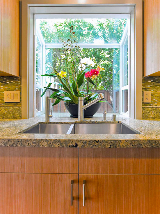 Interesting Kitchen Window Herb Garden: Tropical Kitchen With Garden Window Over Sink With Counter Extension Into Kitchen Bay Window Counter Top And Wood Trim Idea