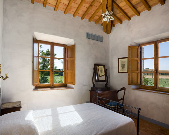 Enchanting Tuscan Window Shutters : Tuscan Country House Rustic Bedroom Ceiling And Wood Shutters Against Stucco Rustic Look