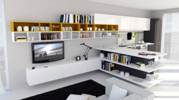 How to Create a Chic Functional Open Kitchen for Your Family Gathering: TV Books Rack Open Kitcen Kitchen Cabinet Kitchen Appliances ~ stevenwardhair.com Dining Room Design Inspiration