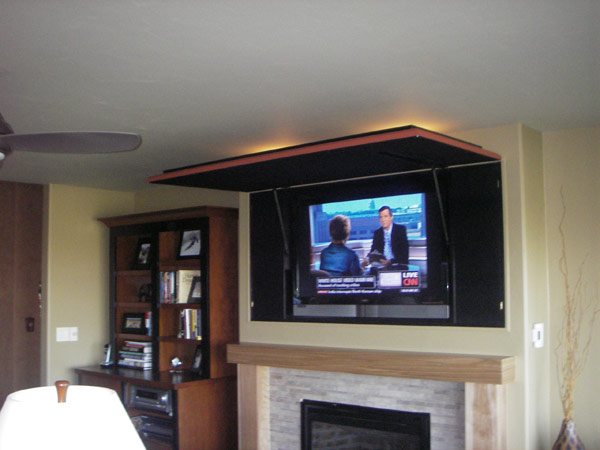 TV Wall Panel Design : TV CoverUp: TV CoverUps Design Behind Orange Framed Artwork Closed Opened
