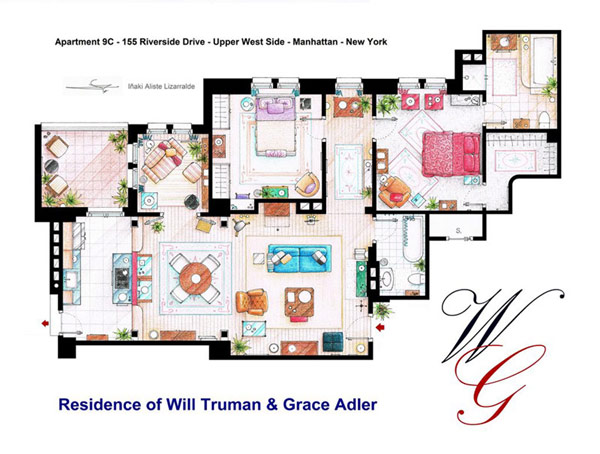 Most Famous On TV Apartments Floor Plans Ideas : Two Bedroom And Large Living Space And TV Room And Kichen And Outdoor Terrace Apartment Floor Plan Of Will Truman And Grace Adler Residence In Manhattan New York