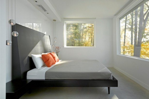 Holiday Getaway for Everyday Living in a Remarkable Vermont Contemporary House: Two Large Windows Low Profile Bed Two Large White Pillows Bed Two Small Orang Pillows Bed Two Pendant Lamps ~ stevenwardhair.com Contemporary Home Design Inspiration