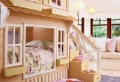 Fascinating Cute Kids Bathroom Decorating Ideas : Two Staircace Bedroom With Fun And Cute Kids Bed House Shaped With Beatuful Sofa And Cushion And Purple Rug Carpet