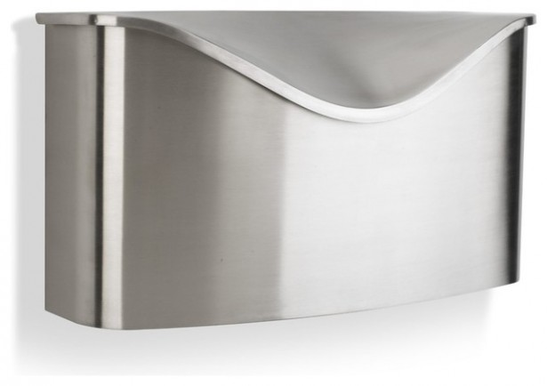 Miscellaneous Fence Mounted Mailbox: Umbra Pastino Wall Mount Mailbox Stainless Steel Mailbox Is Both Streamlined And Curvaceous ~ stevenwardhair.com Exterior Design Inspiration