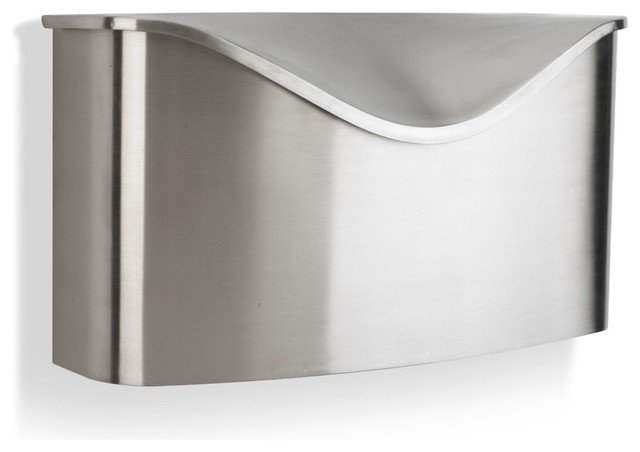 Miscellaneous Fence Mounted Mailbox: Umbra Pastino Wall Mount Mailbox Stainless Steel Mailbox Is Both Streamlined And Curvaceous