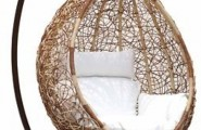 Unbelievably Relaxing Piece Of Furniture Hanging Chair : Unique Back To Nature Outdoor Hanging Chair Tear Drop Shaped Made With Stylist Curled Rattan Mesh With Soft Plain White Cushion