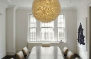 Sophisticated Design In Modern Home : Unique Ball Of Fire White Pendant Lamp As A Center Accent Over A Glossy Long Mahogany Dining Table In A Sophisticated White Room