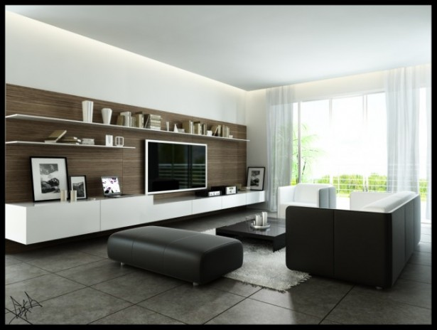 Smart Approach To Modernize Design Process For Our Living Room: Unique Idea In Order To Create Terific Living Room With Creative Mounted Rack White Curtain Great Marble Floor ~ stevenwardhair.com Design & Decorating Inspiration