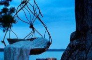 Unbelievably Relaxing Piece Of Furniture Hanging Chair : Unique Outdoor Hanging Chair Round Shaped Made Of Bronze Grecian Feel With Soft Fuzzy Blanket Throw As Accent