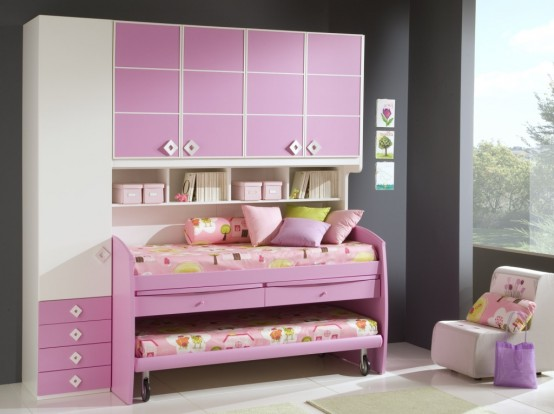 Modern Ideas For Pink Girls Bedrooms : Unique Simple Pink Girls Bedroom With Ceramic Floor And Combination Pink Drawers With Inspiring Cabinet