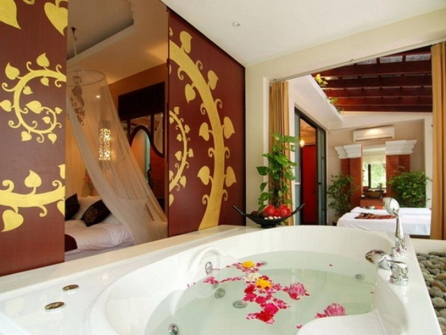 Unique Tropical Bathrooms Decorating Plans And Wall Decor : Unique Tropical Bathr Large Sunny Bright White Bathtub Unique Cream Ceramic Stone Tiles Large Clear Window With Nice Picture And Green Plant As Decoration