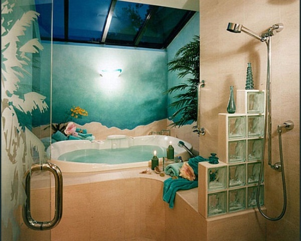 Unique Tropical Bathrooms Decorating Plans And Wall Decor: Unique Tropical Bathrooms Decor Seaworld Wall Accent Blue Ceramic Tiles Shower And Clear Glass Partition