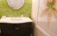 Unique Tropical Bathrooms Decorating Plans And Wall Decor : Unique Tropical Bathrooms Decorating Plans And Wall Decor With Tall Clear Glass Vessel With A Layer Of Natural Pattern Sand In The Bottom With Picture Wallpaper