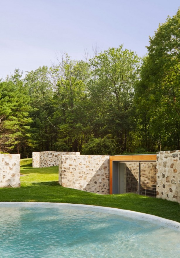 Inspiring Country Estate Home Design Surrounded by Nature: Untreatred Outdoor Wall Outdoor Pool Grasses Yard Tree Large Glasses Wall ~ stevenwardhair.com Country Home Design Inspiration