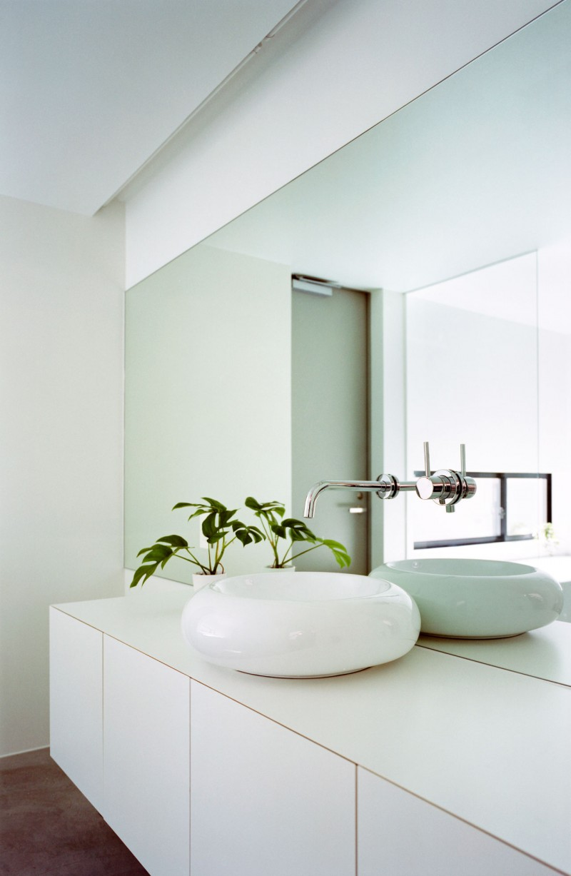 Clean Sleek Minimalist Home Design With Geometrical Shape: Unusual Porcelain Sink Large With Rectangular Mirror Green Fresh Indoor Plant Decor White Bathroom Furniture