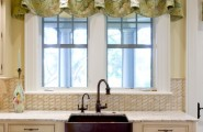 Amazing Kitchen Window Valances : Valance Hung From Rod With Rings And Hooks On Black Metal Rod At Eclectic Kitchen