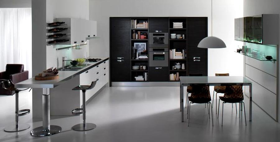 Bright Sleek Bold Black Kitchen: Vast Bright Black And White Kitchen With White Wall And Marble Floor And Small Simple Dinner Table And Chairs