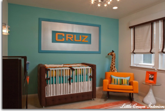 Inspiring Modern Nursery Ideas For Boys: Very Modern Looking Orange And Aqua Modern Boy Nursery Colot Combo Blue And Orange