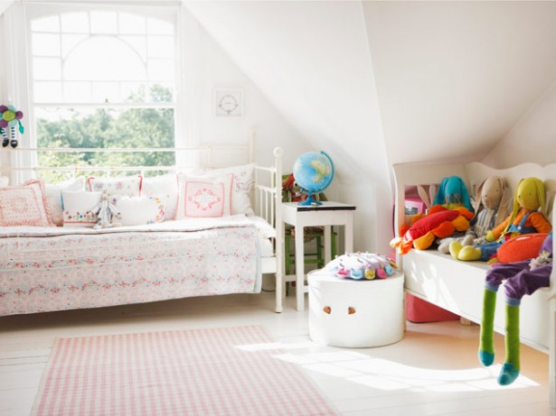 Perfect Colored Bedroom Decorating Ideas For Girls Who Love To Read: Very White Popular Color Arrangements Bedroom Decorating Ideas For Girls With Attic Cozy Bed For A Daydreamer Near The Windows With Wodden Long Chair ~ stevenwardhair.com Bed Ideas Inspiration
