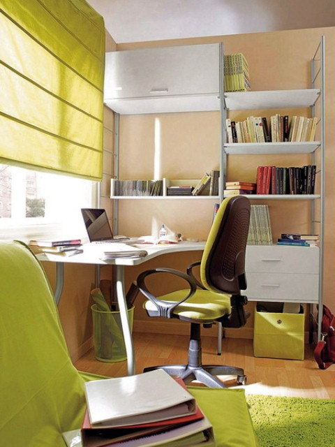 Charming And Thoughtful Home Office Storage Ideas: Vibrant Bright Color Contemporary Home Office Space Design Solution Ideas With Green Themed Custom Mounted Storage And Bookshelves Green Couch Chait And Gree Fur Rug Curtain