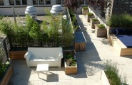 Interesting Large Outdoor Planter Boxes Designs : Village Duplex Contemporary Deck With Bamboo Planter Boxes Along Back Wall Large Planter Boxes With Wooden Lattice With Plants For Privacy