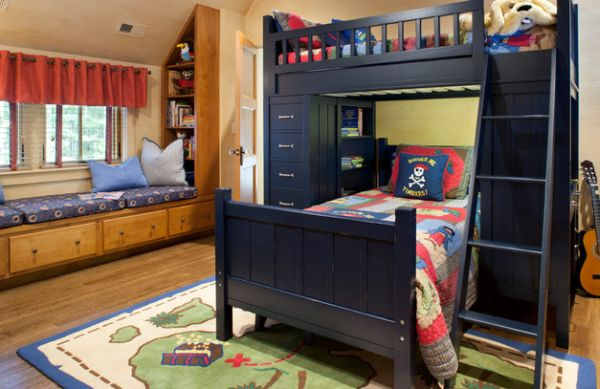 Astonishing Blue Decoration Color For Boys Bedroom Design Ideas: Vintage Astonishing Decoration Blue Color For Boys Bedroom Design Ideas Spacious Pirate Themed Spacious Terrific Bed In Dark Navy Blue ~ stevenwardhair.com Bed Ideas Inspiration