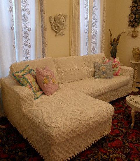 Very Cool Pictures Of Antique Chenille Bedspreads: Vintage Chenille Bedspreads With Different Patterns And White Pom Pom Fringe Trim At Eclectic Living Room With Upholster An Old Sofa With Chenille Bedspreads