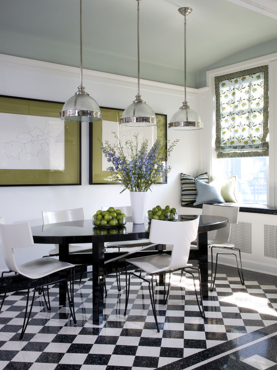 Excellent Black And White Floor Tiles Ideas: Vintage Residence Contemporary Dining Room Great Graphic Floor Black And White Checkerboards Modern Pendant Lamps Black Glossy Dining Table And White Chairs ~ stevenwardhair.com Bathroom Design Inspiration
