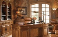 Old Fashion Captivating Home Office Design Ideas : Vintage Stylish And Dramatic Masculine Home Offices With Dramatic Look With Brown Gold Colored Walls Laminated Wood Leather And Copper