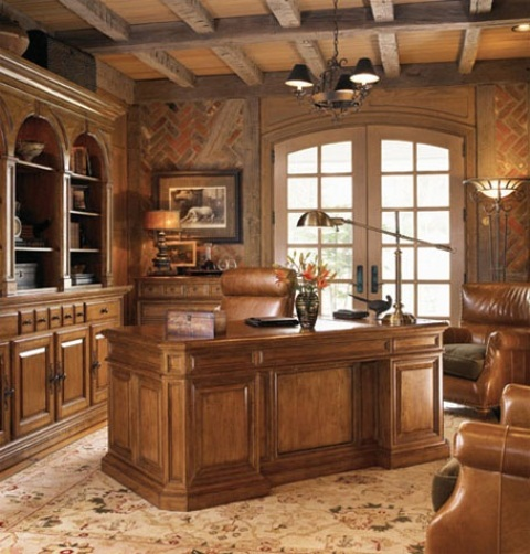 Old Fashion Captivating Home Office Design Ideas: Vintage Stylish And Dramatic Masculine Home Offices With Dramatic Look With Brown Gold Colored Walls Laminated Wood Leather And Copper