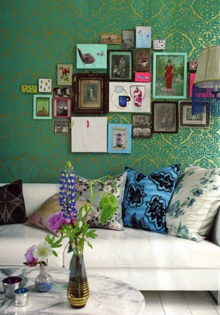 Vivid Color Ideas And Smart Living Room Design Ideas For Couples: Vivid Color Ideas And Smart Living Room Design Ideas For Couples With Beautifully Elegant Room Influenced By Patterns And Colors With Wall Decor With Many Picture