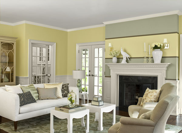 Sunny Yellow Paint Colors Make Your Living Room Feels Warm : Warm And Cozy Yellow Living Room With Banana Cream Wall With Horizon Gray Accent Stripe And Calm Color Ceiling Fireplace Trim Wainscoting
