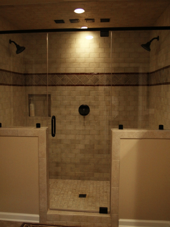 Various Dual Shower Designs: Warm Master Bathroom Walk In Shower And Double Vanities