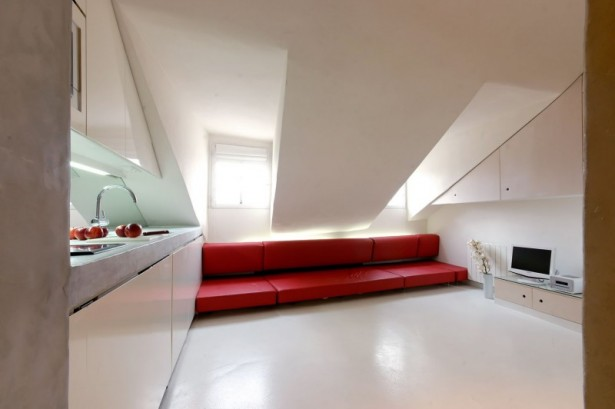 Freshly Styled Apartment Design with Modern Concept Furnishings: Washbasin Faucet White Sloping Ceiling Red Long Sofa ~ stevenwardhair.com Apartments Inspiration