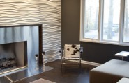 Various Textured Wall At Home Design : Wavy Textures For Walls At Fireplace Of Modern Media Room