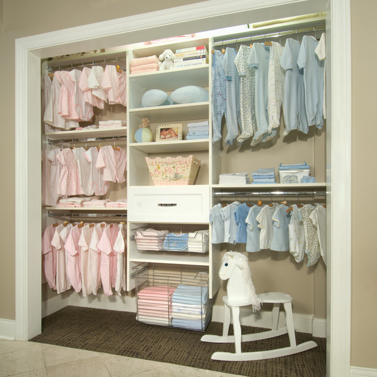 Beautiful Baby Closet Organizer Ideas: Well Organized Baby Closet Split Up Design